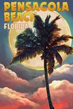 Pensacola Beach, Florida - Palm and Moon Prints by  Lantern Press