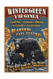 Wintergreen, Virginia - Black Bear Vintage Sign Print by  Lantern Press