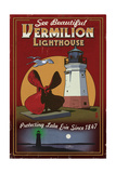 Ohio - Vermilion Lighthouse - Vintage Sign Prints by  Lantern Press