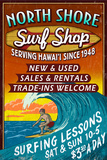 North Shore, Hawai'i - Surf Shop Vintage Sign Poster by  Lantern Press