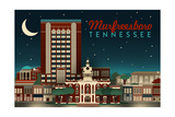 Murfreesboro, Tennessee - Retro Style Skyline Posters by  Lantern Press