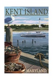 Kent Island, Maryland - Blue Crab and Oysters on Dock Prints by  Lantern Press