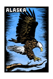 Alaska - Bald Eagle - Scratchboard Prints by  Lantern Press