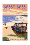 Sassy Bass - Fort Morgan, Alabama - Woody on the Beach Art by  Lantern Press