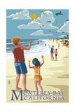 Monterey Bay, California - Kite Flyers Art by  Lantern Press