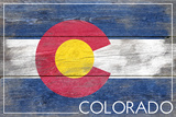Colorado State Flag - Barnwood Painting Print by  Lantern Press