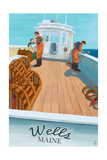 Wells, Maine - Lobster Boat Poster by  Lantern Press