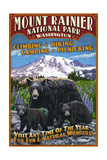 Mount Rainier National Park - Bear Family Vintage Sign Prints by  Lantern Press
