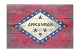 Arkansas State Flag - Barnwood Painting Print by  Lantern Press