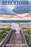 Beachtown - Jekyll Island, Georgia - Beach Boardwalk Scene Prints by  Lantern Press