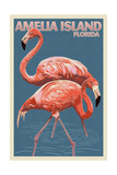 Amelia Island, Florida - Flamingo - Letterpress Print by  Lantern Press