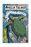 Amelia Island, Florida - Sea Turtle - Woodblock Print Art by  Lantern Press