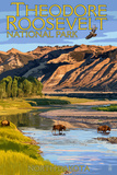 Theodore Roosevelt National Park - North Dakota - Bison Crossing River Prints by  Lantern Press