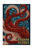 Kodiak, Alaska - Octopus Mosaic Poster by  Lantern Press