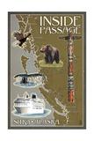 Sitka, Alaska - Inside Passage Map Posters by  Lantern Press