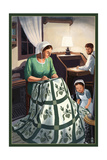 Amish Quiltmaking Scene Poster by  Lantern Press