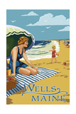 Wells, Maine - Woman on Beach Prints by  Lantern Press