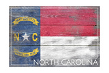 North Carolina State Flag - Barnwood Painting Prints by  Lantern Press
