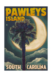 Pawleys Island, South Carolina - Palmetto Moon and Palm Prints by  Lantern Press