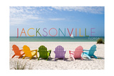 Jacksonville, Florida - Colorful Beach Chairs Posters by  Lantern Press