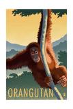 Orangutan - Lithograph Series Reproduction giclée Premium par  Lantern Press
