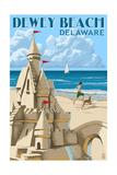 Dewey Beach, Delaware - Sandcastle Prints by  Lantern Press
