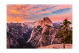 Yosemite National Park, California - Half Dome and Sunset Posters by  Lantern Press