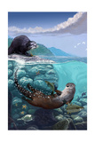River Otters - Underwater Scene Posters af Lantern Press