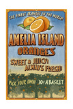 Amelia Island, Florida - Orange Grove - Vinatge Sign Prints by  Lantern Press