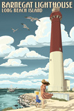 Long Beach Island - Barnegat Lighthouse Premium Giclee Print by  Lantern Press
