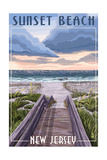 Sunset Beach, New Jersey - Beach Boardwalk Scene Prints by  Lantern Press