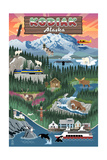 Kodiak, Alaska - Retro Scenes Art by  Lantern Press