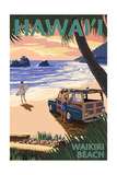 Waikiki Beach, Hawai'i - Woody on Beach Posters by  Lantern Press