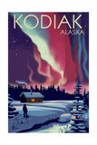 Kodiak, Alaska - Northern Lights and Cabin Prints by  Lantern Press