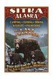 Sitka, Alaska - Black Bear Family Vintage Sign Art par  Lantern Press
