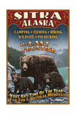 Sitka, Alaska - Black Bear Family Vintage Sign Posters by  Lantern Press
