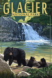 Glacier National Park - Bear Family and Waterfall Prints by  Lantern Press