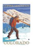Copper Mountain, Colorado - Skier Carrying Prints by  Lantern Press