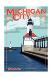 Indiana - Michigan City Lighthouse Poster by  Lantern Press