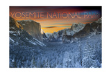 Yosemite National Park, California - Valley in Winter Prints by  Lantern Press