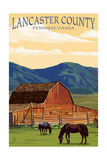 Lancaster County, Pennsylvania - Barn and Horses Prints by  Lantern Press
