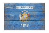 Wisconsin State Flag - Barnwood Painting Art by  Lantern Press