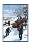 Amish Country - Gathering Firewood Winter Scene Prints by  Lantern Press