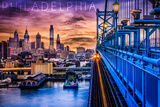 Philadelphia, Pennsylvania - Skyline and Bridge Sunset Posters by  Lantern Press