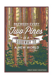 John Muir - Between Every Two Pines - Great Smoky Mountains - Forest View Posters by  Lantern Press