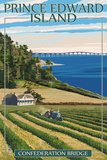Prince Edward Island - Confederation Bridge and Farm Prints by  Lantern Press