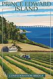 Prince Edward Island - Confederation Bridge and Farm Prints by  Lantern Press