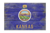 Kansas State Flag - Barnwood Painting Art by  Lantern Press