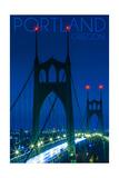 Portland, Oregon - St. Johns Bridge Night Prints by  Lantern Press