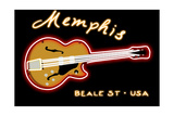 Memphis, Tennesse - Neon Guitar Sign Posters by  Lantern Press